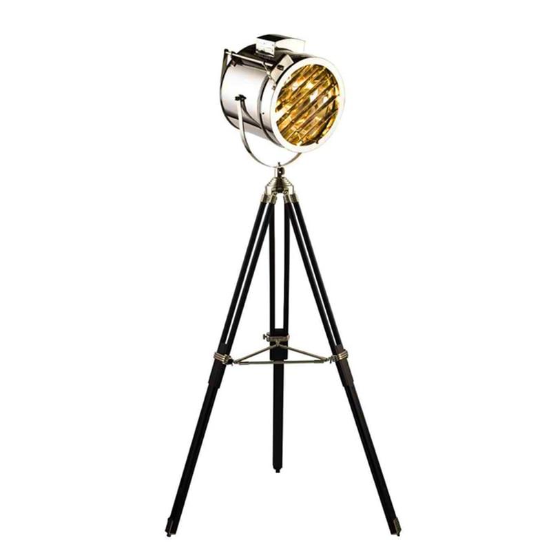 Post modern searchlight floor light tripod base gold for Eden 3 light tripod floor lamp chrome