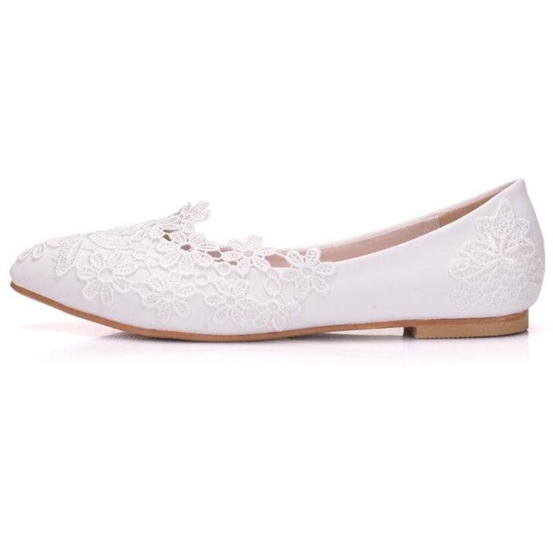Mariée Bout De Printemps Blanc Pointu Glissement Femmes Chaussures Wfs887 Ballerines Mariage Dentelle Fleurs 2019 Sur Covoyyar Été PwEqBvP
