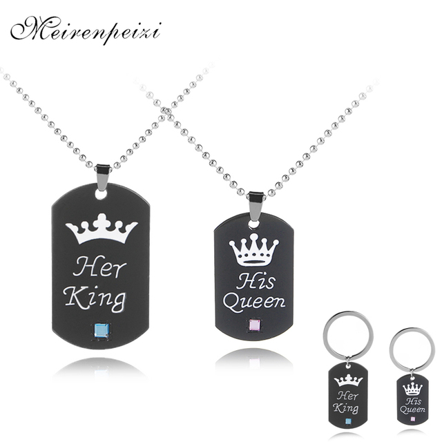 Her king His queen necklaces Valentine's Day gift Lettering Necklaces Pendants C