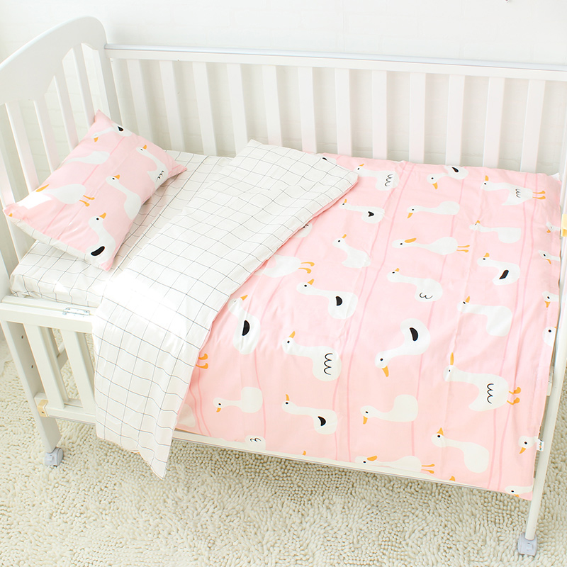 3 Pcs Baby Bedding Set Pure Cotton Crib Bedding Set Baby Bed Linen Includes Pillowcase Bed Sheet Duvet Cover Without Filler baby bedding set crib bumper children sleeping bag infant sleepsack includes pillowcase pillow inner duvet cover and filler d3