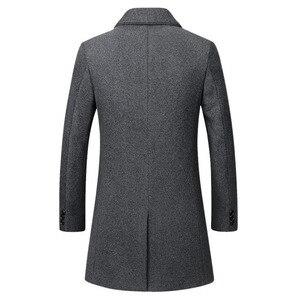 Image 4 - Kış yün ceket erkekler yüksek kaliteli yün ceket rahat ince yaka yün ceket erkek uzun pamuklu yaka trençkot