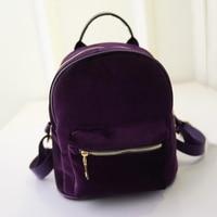 MISS YING New Fashion Women Mini Velvet Backpack Designer High Quality Casual Style Travel Backpack School Bag For Teenage Girls