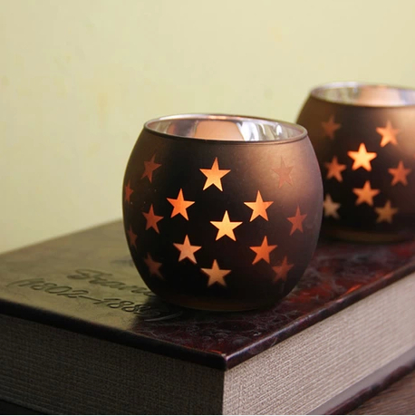 european romantic star tea light candle holder coffee plating candle bowl western restaurant decoration 4pcs - Tea Light Candle Holders