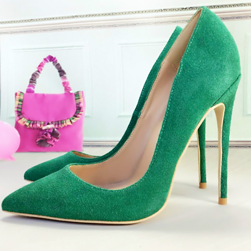 Keshangjia Free Shipping Suede Leather Footwear Women Pumps for Wedding Pointed Sexy High Heels Shoes 12cm