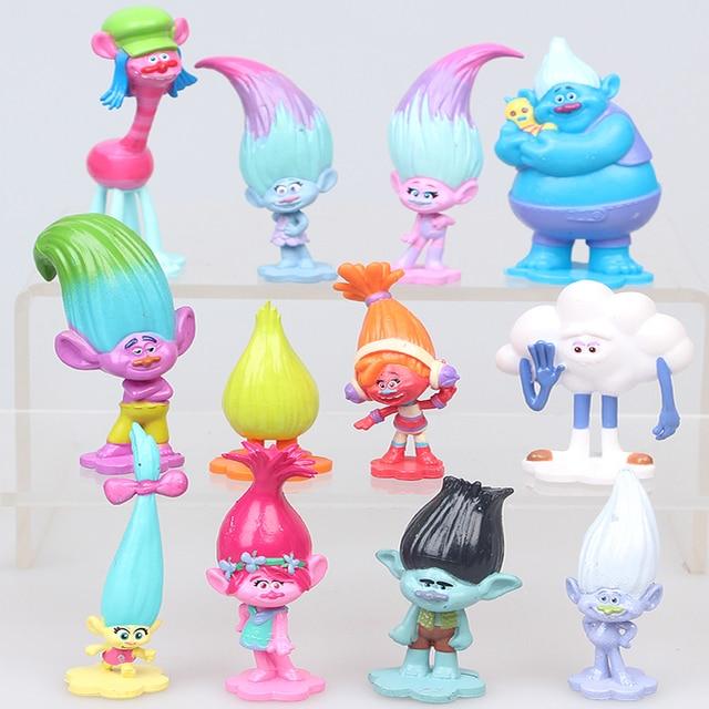 Тролли фильм 12 шт./компл. тролли фигурку Коллекционная Куклы Poppy филиал Biggie Цифры Куклы тролли цифры Игрушечные лошадки для детей