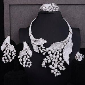 Image 4 - GODKI סופר יוקרה פרג פרח אפריקאי מעוקב זירקון CZ ניגרית נשים חתונה הודי חרוזים כלה תכשיטי סטים
