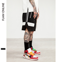 FLAM ONLINE 2019  Shorts Hip Hop Brand Clothes Street wear Men Draw Rope Zipper Jogger Mesh Loose Hip-Hop For