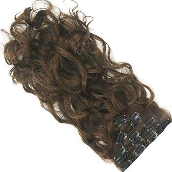 Женские Длинные Синтетические волосы Soowee, черные и коричневые волосы для наращивания на клипсе с высокой температурой