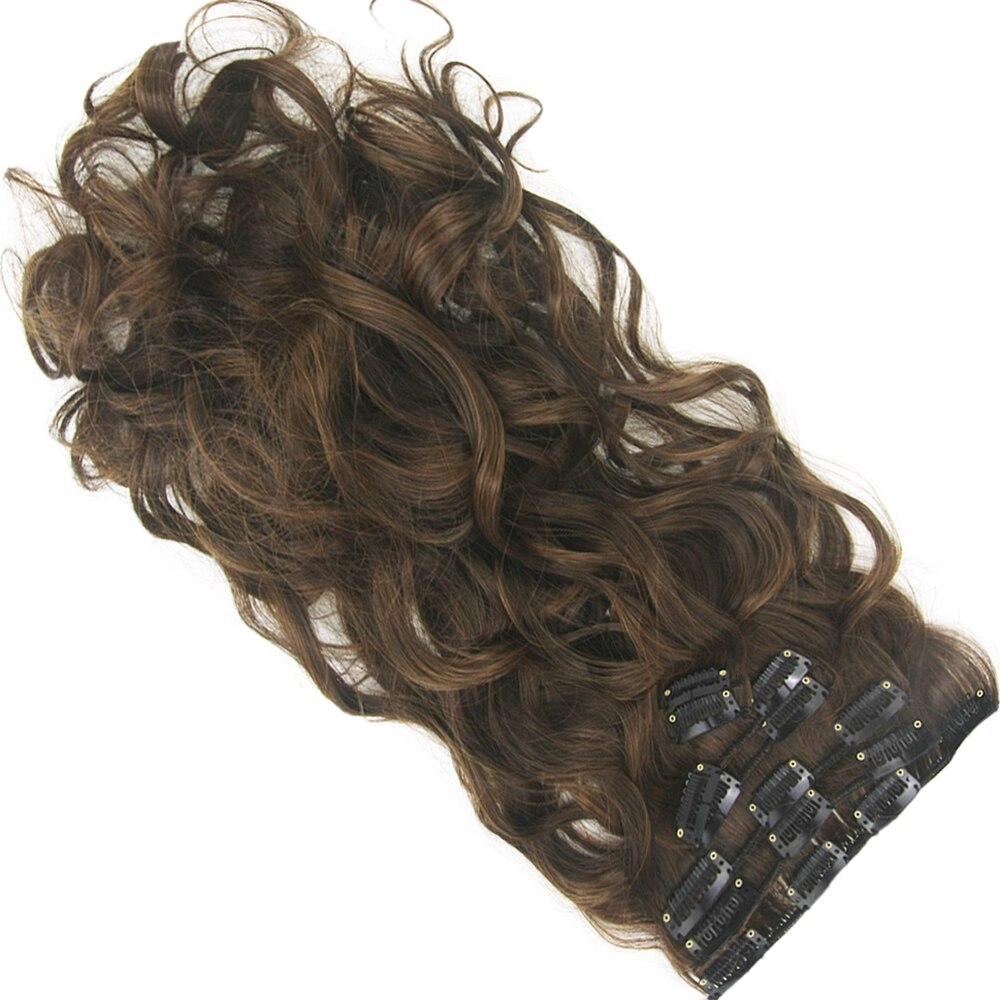 Soowee longo de alta temperatura fibra de cabelo sintético encaracolado grampo em extensões de cabelo preto marrom