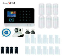 SmartYIBA GPRS SMS 3G Security System With Wireless Strobe Blue Siren IP Camera Alarm Kits WIFI SMS Alarmes