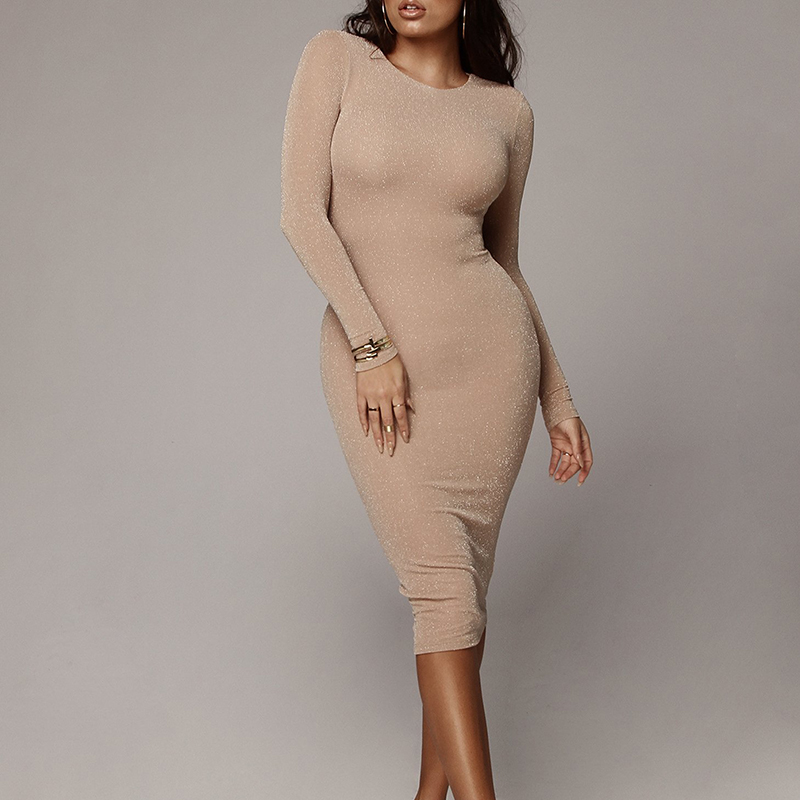 New <font><b>2018</b></font> <font><b>Women</b></font> Winter <font><b>Autumn</b></font> <font><b>Sexy</b></font> Bright Silk Casual Dress <font><b>Fashion</b></font> <font><b>Elegant</b></font> Black Dress Vestidos Long Sleeve <font><b>Bodycon</b></font> Dress image