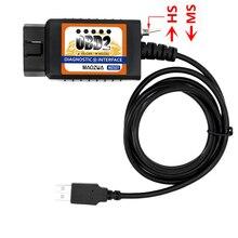 Maozua MZ327 USB OBD2 с выключателем диагностический сканер Поддержка для моделей FORD открыть скрытые ELM327 OBD2 forscan elmconfig