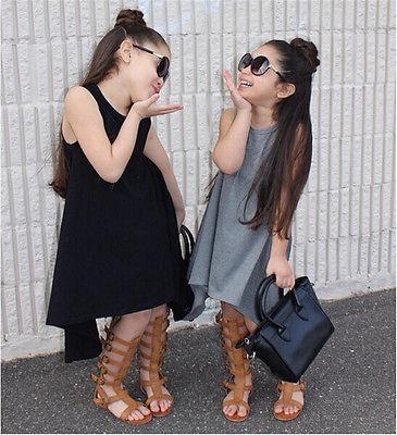 bb829ff7f5 2016 Gorąco Sprzedaży Dziewczynek Dzieci Casual Maxi Afgańskich cytowany  Batwing Asymetryczna Sukienka Bez Rękawów Sukienka Odzież