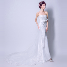 Mermaid Evening Dresses Strapless Shining Sequins White Trumpet Train Formal Prom Dress Big Bow Elegant Wedding Party Gowns E206