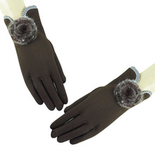 Women Ball Mink Woolen Gloves Fashion Design Opening Ladies Winter New Trendy Elegant Soft Coffee Mittens
