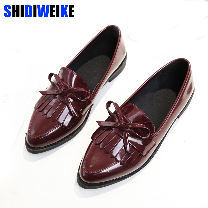2018 Brand Shoes Woman Casual Tassel Bow Pointed Toe Black Oxford Shoes for Women Flats Comfortable Slip