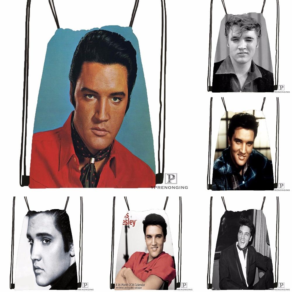 Custom Famous Singer Elvis Presley Drawstring Backpack Bag Cute Daypack Kids Satchel (Black Back) 31x40cm#180531-02-19