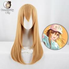 Cells at Work Platelet Cosplay Wig Long Straight Costume Synthetic Hair Halloween Costume Kesshoban Lolita Blonde Wigs + Wig Cap цена
