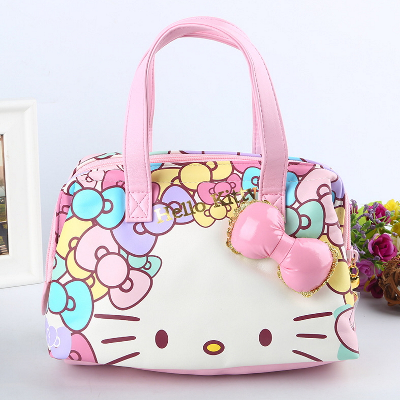 2018 News Hello Kitty Genuine Functional Bag High Quality Pu Lovely Cartoon Women Bag Open With The Zipper Gift For Girlfriend