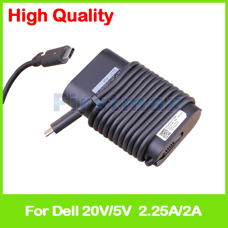 45W 5V 2A 20V 2.25A USB-C type C laptop AC power adapter charger for Dell Latitude 12 5285 5289 7275 E7275 13 7370 7389 E7370 19 5v 2 31a 45w pa 1450 66d1 la45nm140 laptop ac power adapter charger for dell latitude 13 3379 7350 xps 13 9333 9343 9350 9360
