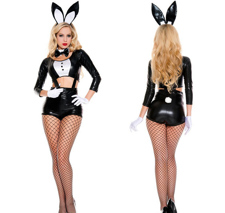 b712bade6 Women Sexy Black Faux Leather Wet Look Bondage Bunny Costume Cosplay Fancy  Dress Casino DS Party Clubwear