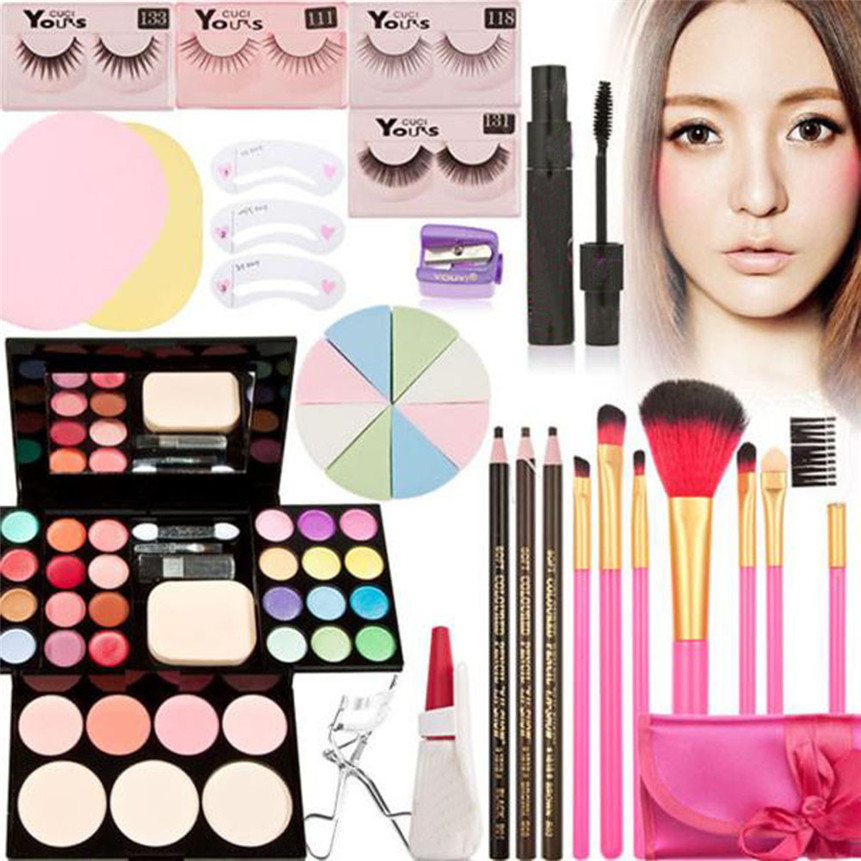 2017 New Makeup Kits Gift Set Eyeshadow Foundation Blusher Powder Lip Gloss + 7PC Brushes Makeup Garden 180315 drop ship