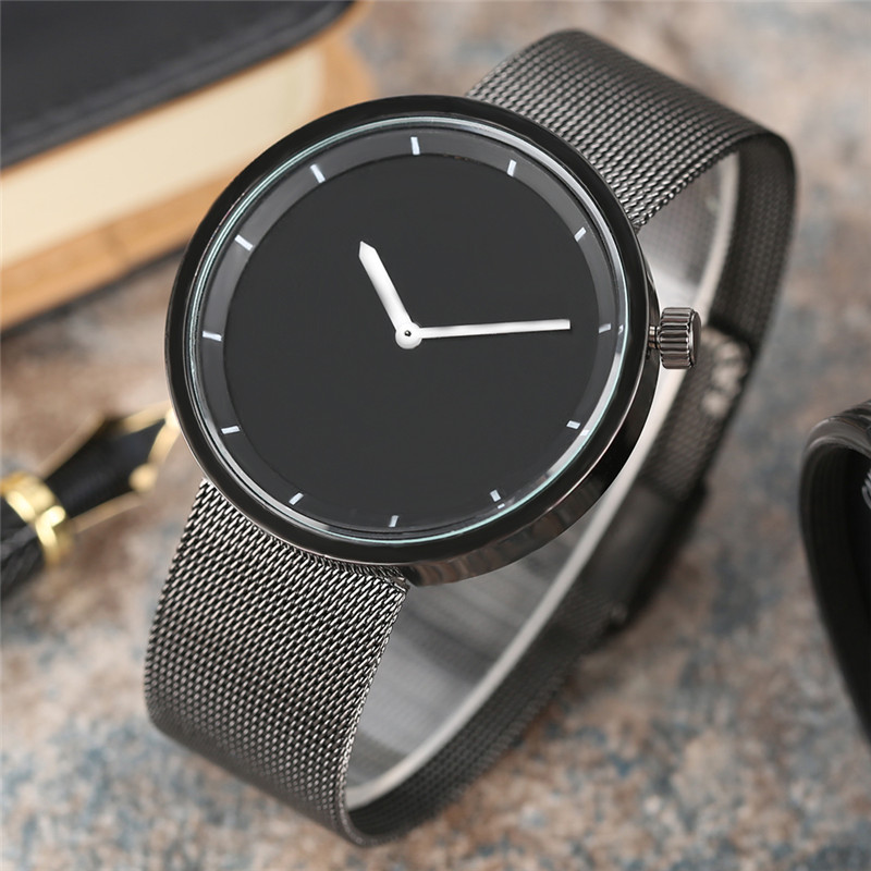 Business Simple Quartz Men Watch Black Dial White Pointers Design Fashion Wristwatch Male Vogue Watches Saat Gift for Minimalist fashion cool punk rock design men quartz wooden watch modern black genuine leather watchband unique wood watches gift for male