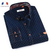 LANGMENG Brand Long Sleeve Men Casual Shirts Male Warm Formal Dress Shirt Mens Polka Dot Corduroy Masculina Camisa