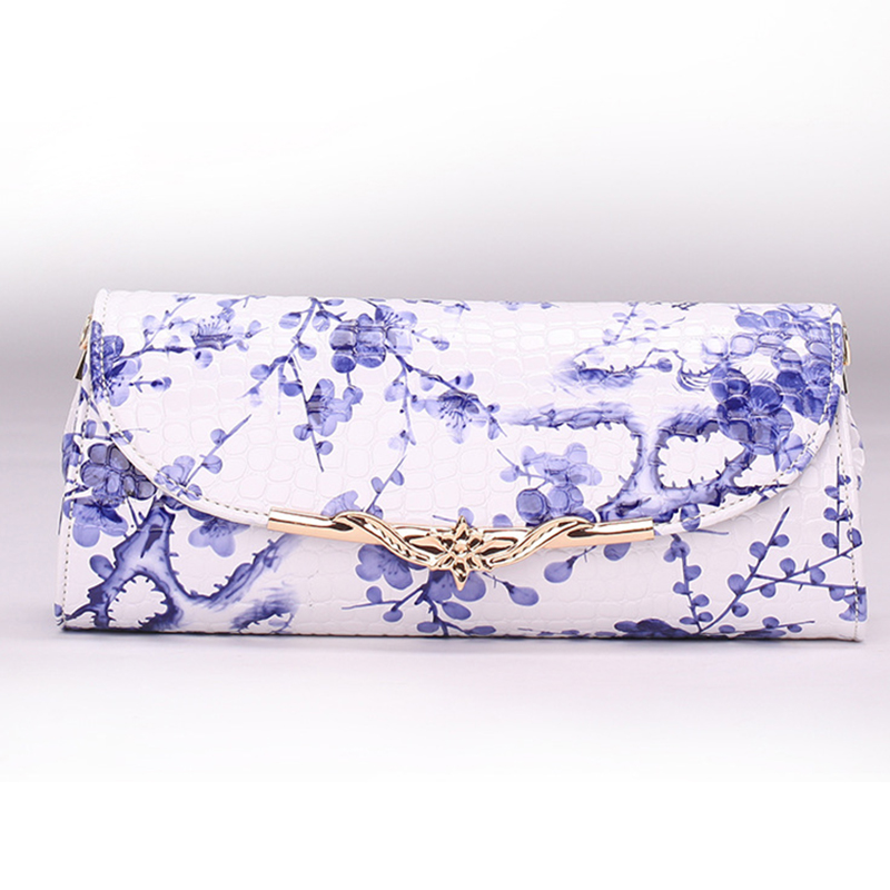 PU Leather Lady Small Day Clutches Crossbody Bags Floral Hand Bag Blue and White Porcelain Folk-custom Shoulder