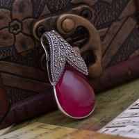 Thai silver S925 pure silver red corundum pendants DIY accessories necklaces pendant