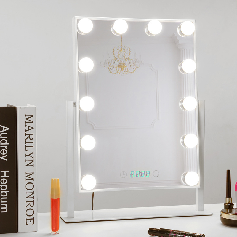 Professional Makeup Mirror Mirror with Lights Vanity Table Set with Smart Touch Adjustable LED Lights and Digital Clock