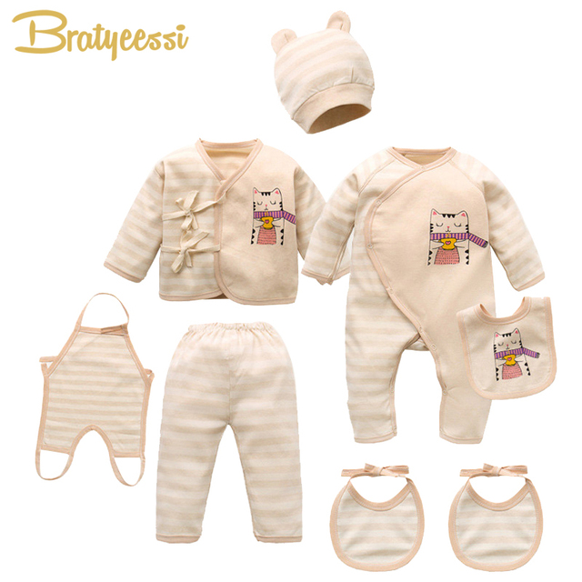 Cartoon Cat Newborn Clothes Soft Cotton Baby Set Striped New Born Baby Boy Girl Clothes Set with Opp Bag Pack