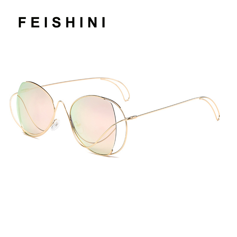 da7efe74f9 FEISHINI Brand Metal Sexy Oval Ladies Sunglasses UV Protector Gradient  Summer Sea 2018 Trendy Eye Glasses Frame Women Trendy купить на AliExpress