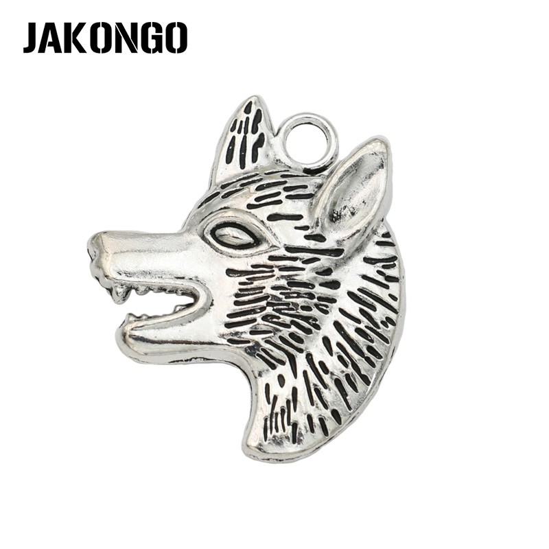 5pcs Wolf Charm Tibet silver Charms Pendants DIY Jewellery Making crafts