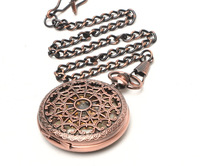 Vintage Copper Hollow Case Pocket Watch Chain Fob New