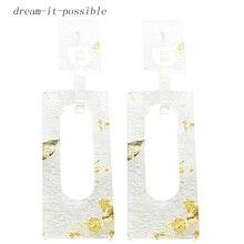 Dream-it-possible transparent druzy nice square acrylic statement big charm earrings 2018 jewelry Luxury designer creative