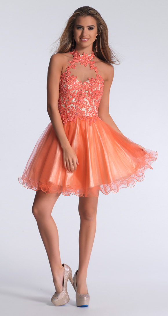 High Neck Backless Appliques Sexy Cheap Coral Homecoming