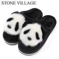 Pedra aldeia bonito dos desenhos animados animação panda feminino chinelos senhoras antiderrapante deslizamento em chinelos de pelúcia quente chinelos de casa interior sapatos