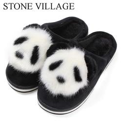 STONE VILLAGE Cute Cartoon Animation Panda Women Slippers Ladies Non-Slip Slip On Warm Plush Slippers Indoor Home Slippers Shoes