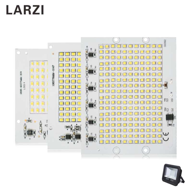 LARZI LED Chips 220V Lamp SMD Bulb 2835 5730 Smart IC Led Light Input 10W 20W 30W 50W 90W For Outdoor FloodLight Spotlight