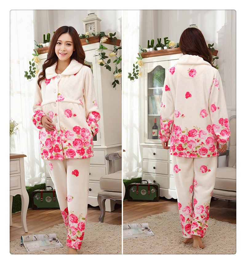 Flannel Maternity Pajamas (3)