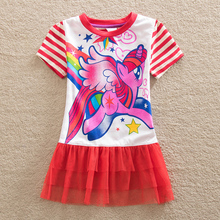 New fashion baby girl clothes girl dresses summer 2017 my little pony pretty lace children clothing tutu dress kids clothes LU8