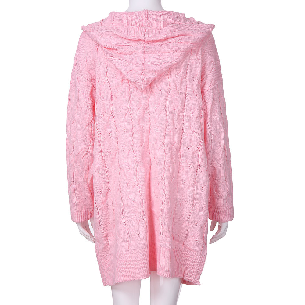 pink Mujeres Gris Abrigo Black Cardigan Rosa Larga Ropa Mujer Invierno gray Las Outwear Suéter Negro Manga De Tamaño Gran Suelta Punto Femenina Sw1d1ZBq
