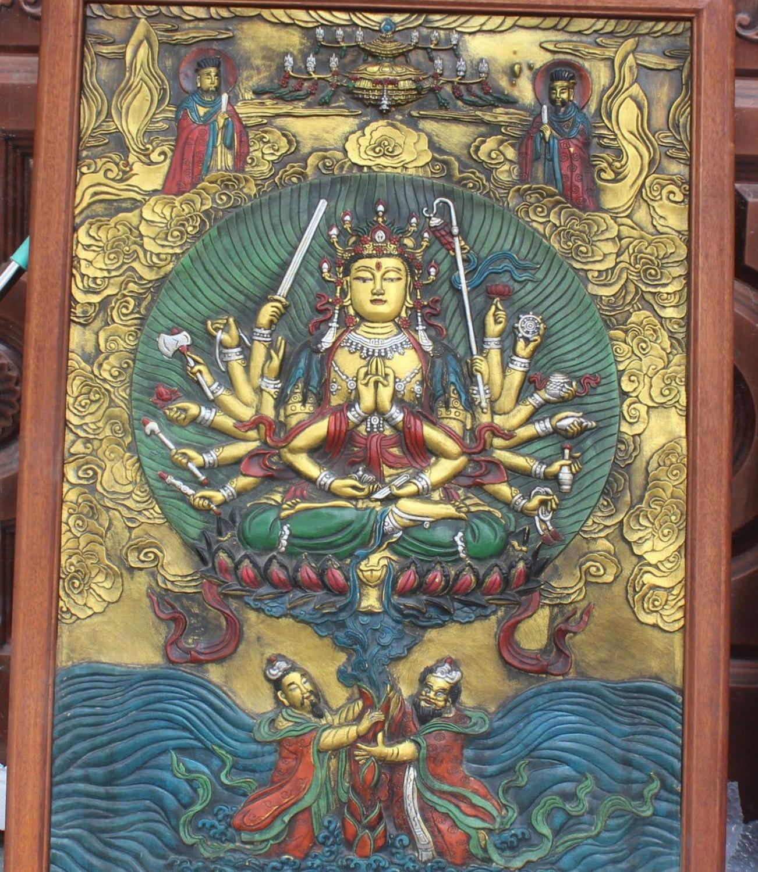 110CM Tibet Wood Bronze Painting 1000 Arms Avalokiteshvara Goddess Buddha TangKa