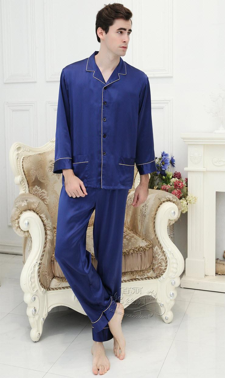 100% Mulberry Silk Male Household To Take Heavy Silk Pajamas M - Big Yards XXXXL (blue)