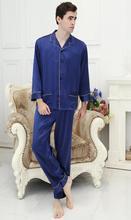 100% шелковицы мужчина бытовой взять тяжелого шелка пижамы М-большой ярдов XXXXL (синий)