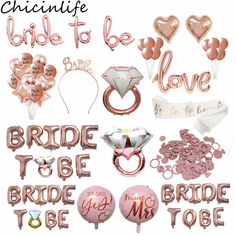 Chicinlife Bride To Be Theme Foil Balloon Cupcake Topper Sash Bachelorette Party Diamond Ring Foil Balloon Straw Wedding Supplie