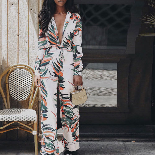 Women Clothes V-neck High Waisted Bodycon Club Party Casual Long Pants   Jumpsuit   Rompers 2pcs Women Floral Print   Jumpsuits
