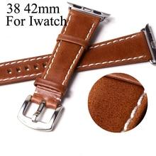 Nueva Oill marrón Iwatch band 42 mm 38 mm, de cuero de diseño especial de Apple reloj correa de la banda para Iwatch Apple seguir con adaptador
