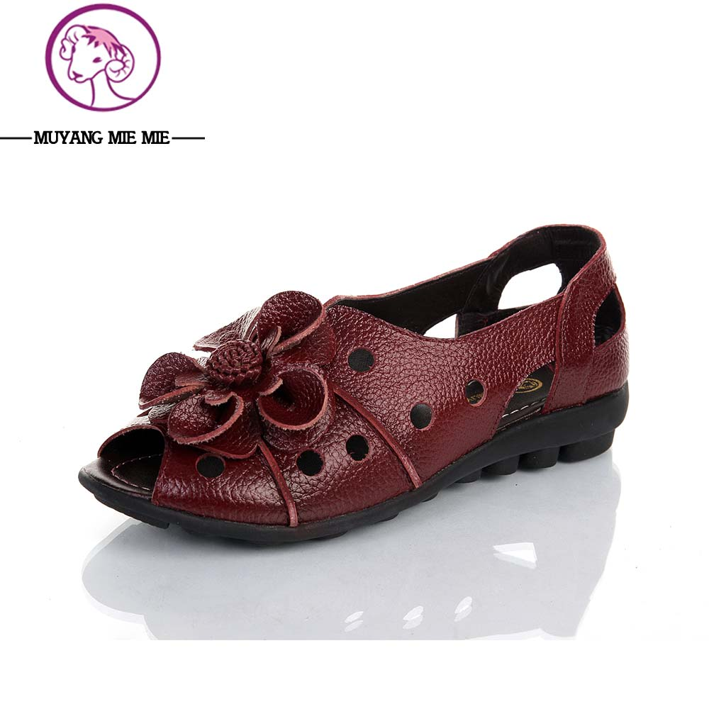 2017 Genuine Leather Flowers Open Toe Female Sandals Woman Flat Slip-Resistant Casual Sandals Shoes For Women Flat Sandals